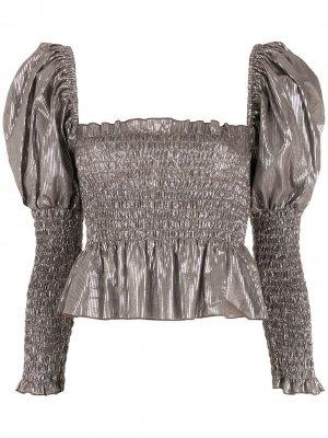 Блузка с пышными рукавами и эффектом металлик Nk. Цвет: золотистый