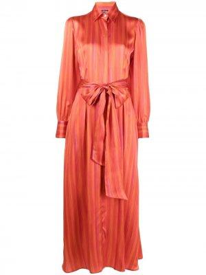 Платье-рубашка макси Kiton. Цвет: оранжевый