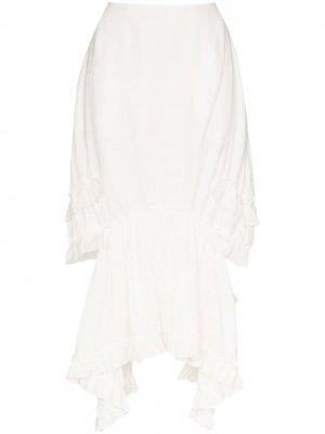 Юбка миди с оборками и вышивкой Simone Rocha. Цвет: белый