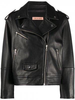 Байкерская куртка на молнии Yves Salomon. Цвет: черный
