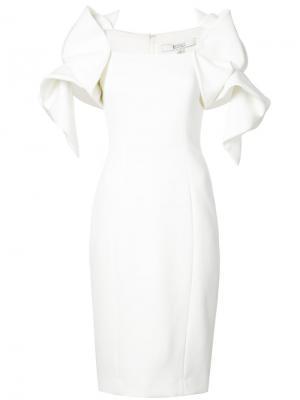 Приталенное платье с структурированными рукавами Badgley Mischka. Цвет: белый