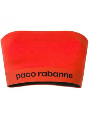 Эластичный топ-бандо из джерси Paco Rabanne. Цвет: красный