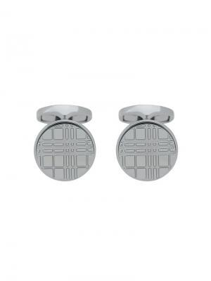 Круглые запонки с клетчатой гравировкой Burberry. Цвет: серебряный