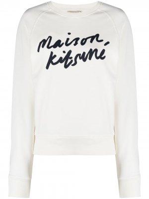Джемпер с логотипом Maison Kitsuné. Цвет: белый