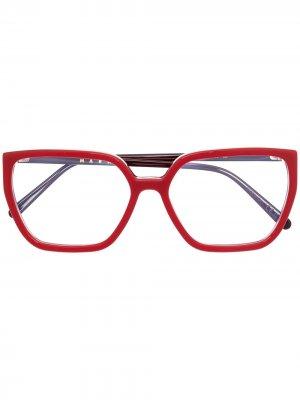 Очки в квадратной оправе Marni Eyewear. Цвет: красный