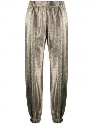 Зауженные брюки с эффектом металлик Saint Laurent. Цвет: золотистый