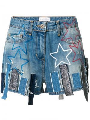 Джинсовые шорты с аппликациями Faith Connexion. Цвет: синий
