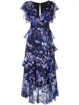 Платье с цветочным принтом и оборками Marchesa Notte. Цвет: синий