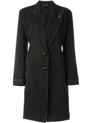 Пальто в тонкую полоскку Jean Paul Gaultier Pre-Owned. Цвет: черный
