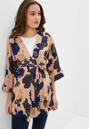 Блуза Mamalicious. Цвет: бежевый