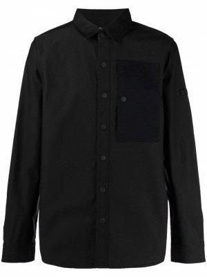 Рубашка с длинными рукавами и нагрудным карманом Barbour. Цвет: черный