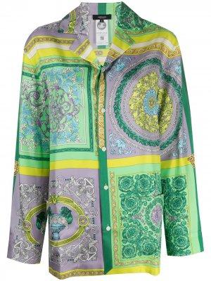 Пижамная рубашка с принтом Baroque Versace. Цвет: зеленый