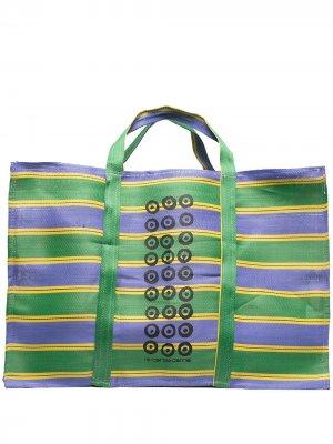 Большая сумка-тоут в полоску 10 CORSO COMO. Цвет: зеленый