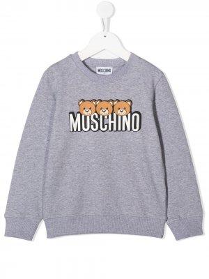 Джемпер с логотипом Moschino Kids. Цвет: серый