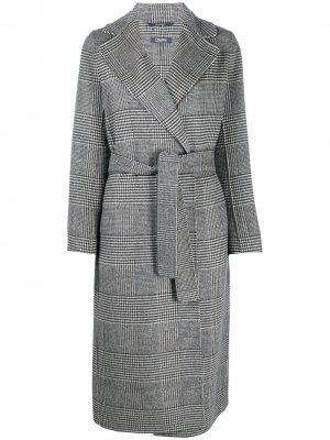 Пальто в клетку Prince of Wales с поясом Max Mara. Цвет: черный