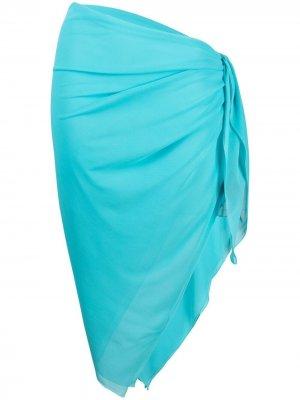 Узкая юбка-саронг длины миди Fisico. Цвет: синий
