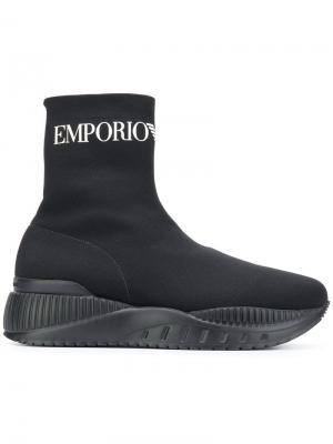 Хайтопы с эффектом носков Emporio Armani. Цвет: черный
