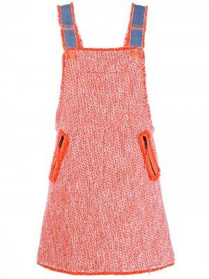 Твидовое платье SJYP. Цвет: оранжевый