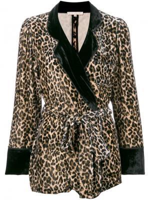 Бархатный леопардовый пиджак Gold Hawk. Цвет: коричневый
