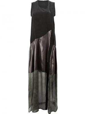 Асимметричное платье макси со вставками Ilaria Nistri. Цвет: черный