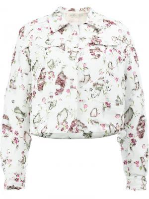 Куртка с цветочным принтом Giambattista Valli. Цвет: белый
