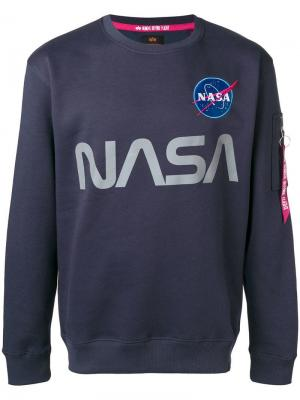 Nasa print sweatshirt Alpha Industries. Цвет: синий