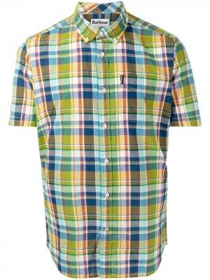 Клетчатая футболка с короткими рукавами Barbour. Цвет: зеленый