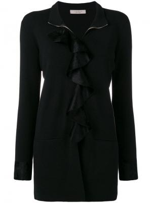 Ruffle trim turtleneck sweater D.Exterior. Цвет: черный