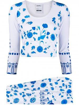 Комплект из топа и брюк с цветочным принтом Seen Users. Цвет: белый