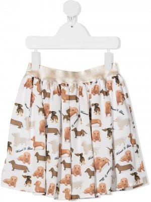 Расклешенная юбка с принтом Harmont & Blaine Junior. Цвет: белый