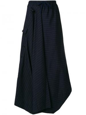 Длинная юбка в полоску Bernhard Willhelm. Цвет: синий