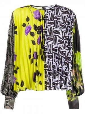 Плиссированная блузка с принтом MSGM. Цвет: желтый