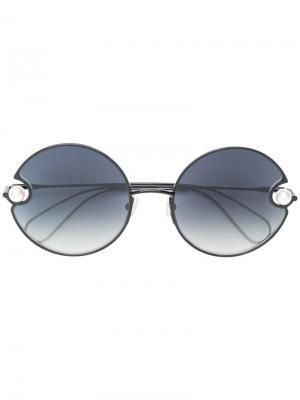 Pearl embellished round sunglasses Christopher Kane Eyewear. Цвет: черный