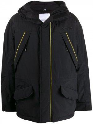 Пальто с капюшоном и кантом Napapijri. Цвет: черный
