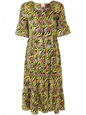 Платье-рубашка со звериным принтом Ultràchic. Цвет: желтый