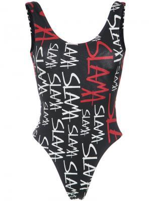 Logo print swimsuit Amir Slama. Цвет: черный