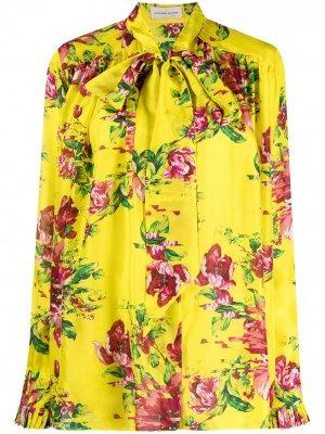 Блузка с цветочным принтом Alexandre Vauthier. Цвет: желтый