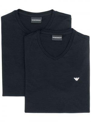 Комплект из двух футболок с логотипом Emporio Armani. Цвет: синий