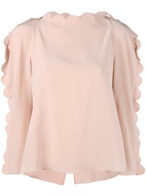 Блузка с волнистой отделкой Fendi. Цвет: розовый и фиолетовый