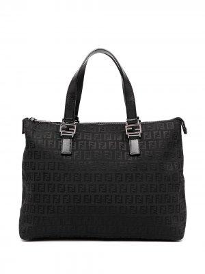 Большая сумка-тоут с узором Zucchino Fendi Pre-Owned. Цвет: черный