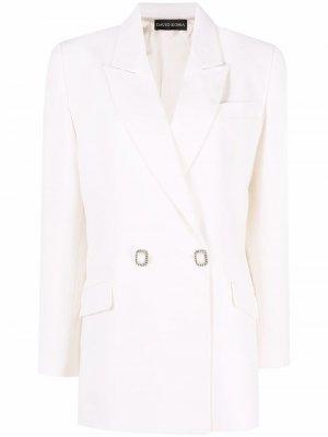 Двубортный пиджак оверсайз David Koma. Цвет: белый