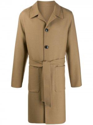 Пальто с поясом AMI Paris. Цвет: нейтральные цвета