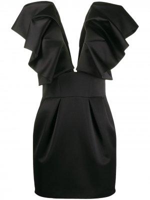 Платье с глубоким V-образным вырезом и оборками Alexandre Vauthier. Цвет: черный