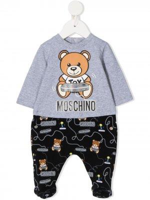 Пижама с логотипом Moschino Kids. Цвет: серый