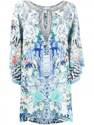 Короткое платье-кафтан Wings of Luxor Camilla. Цвет: синий