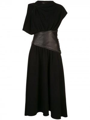 Платье асимметричного кроя с поясом Proenza Schouler. Цвет: черный