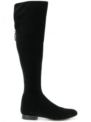 Бархатные сапоги Alberta Ferretti. Цвет: черный
