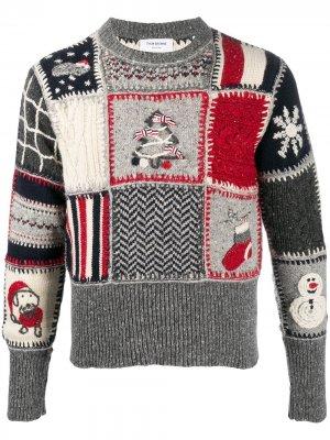 Пуловер Holiday в технике пэчворк Thom Browne. Цвет: серый