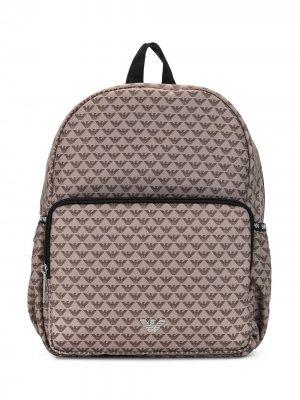 Рюкзак с логотипом Emporio Armani Kids. Цвет: коричневый
