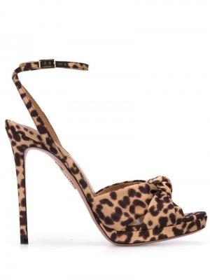 Босоножки с леопардовым принтом Aquazzura. Цвет: черный
